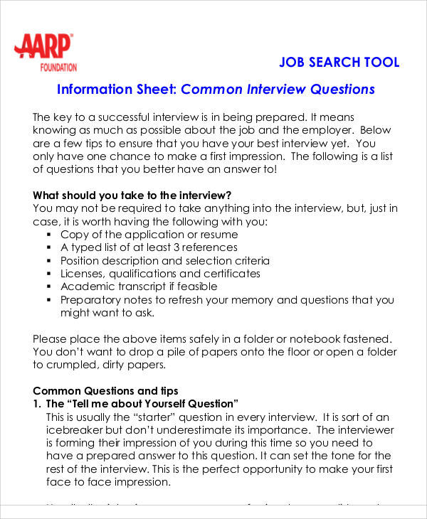 job interview information sheet