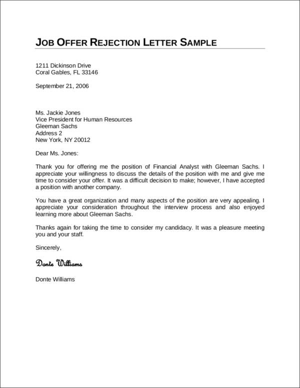 denial letter for job how to politely turn a offer 21345 | Job Offer Rejection Letter Sample