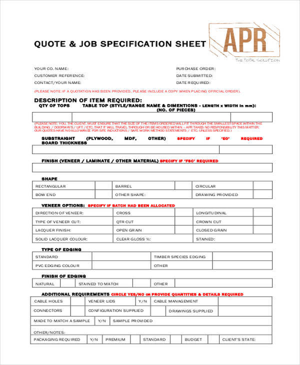 job quote sheet