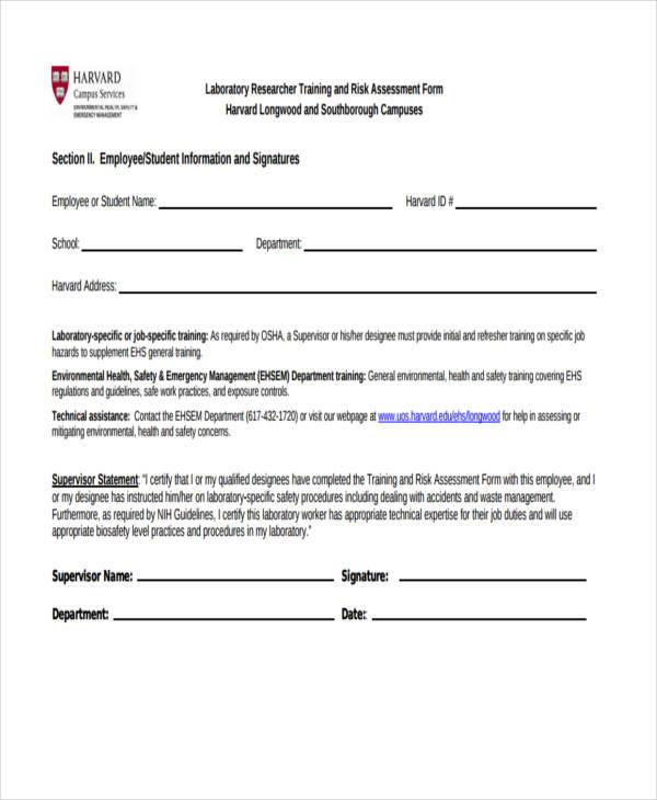 laboratory training risk assessment form