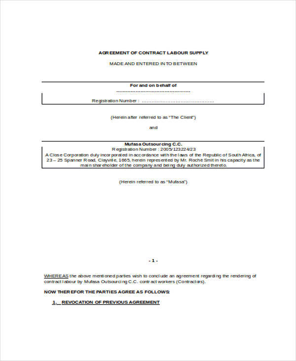 Labour Contract Samples  Templates  Pdf Doc