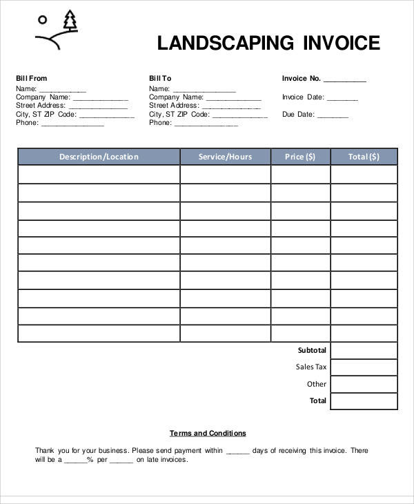 Sample Landscaping Invoice   Examples In Pdf Word Excel