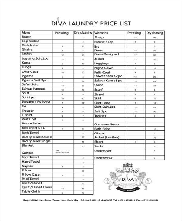 laundry price list