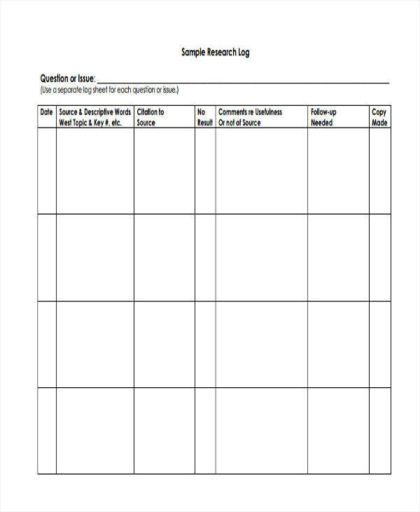 9+ Research Log Templates - Free Sample, Example, Format Download
