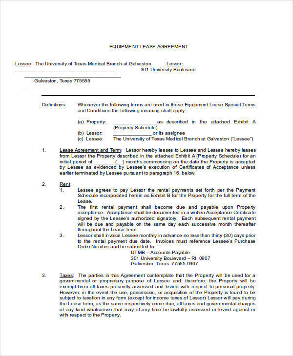 Equipment Lease Agreement Lease Agreement For Medical Equipment – Leasing Agreement Sample