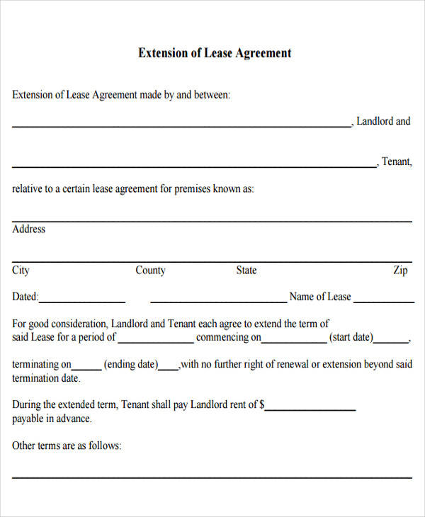 Lease Agreement Forms In Pdf