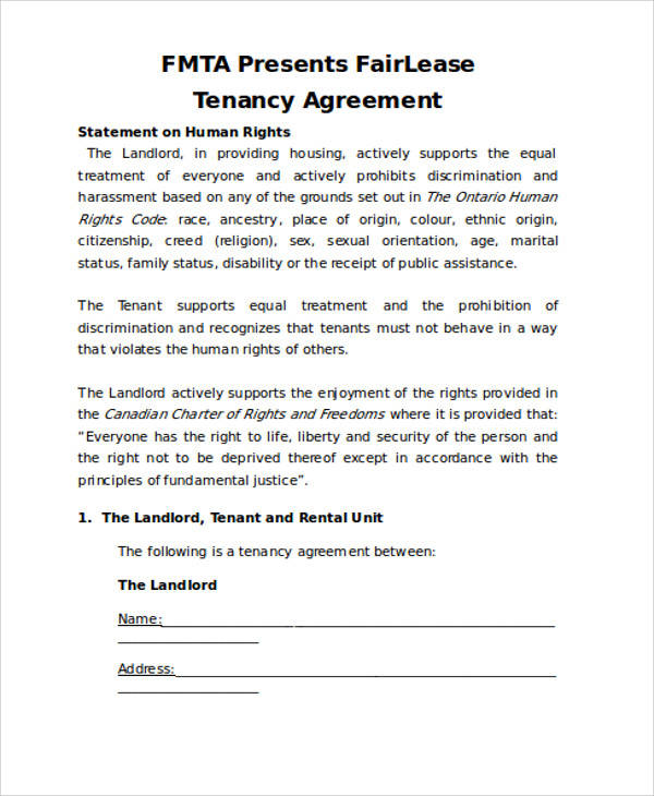 lease tenancy agreement