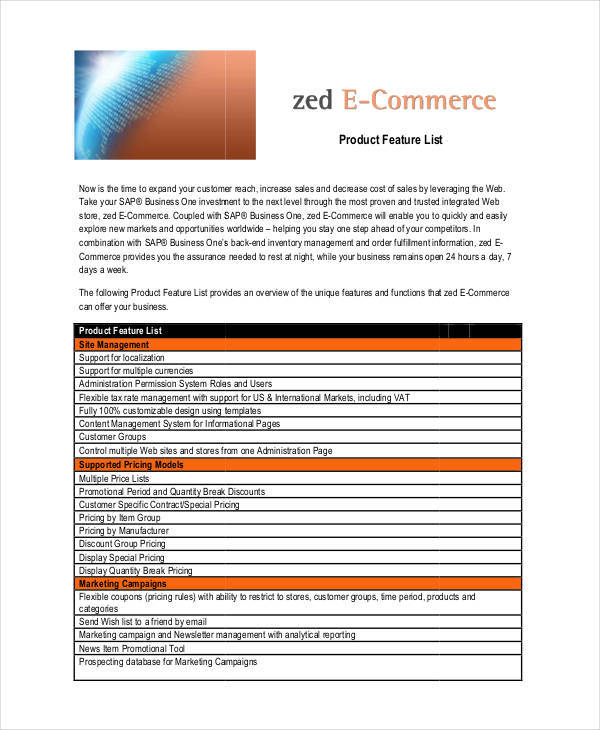 Product List Samples  Templates  Pdf Doc
