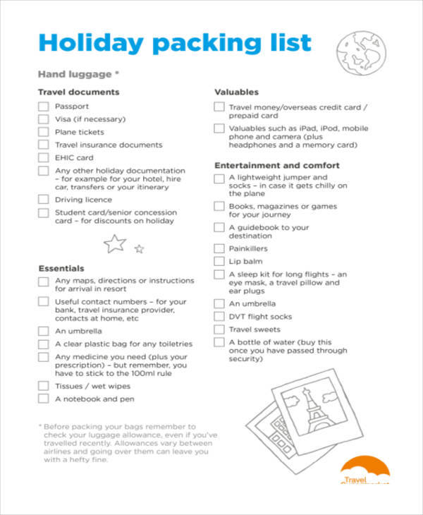 list for holiday packing