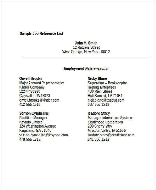 list for job reference