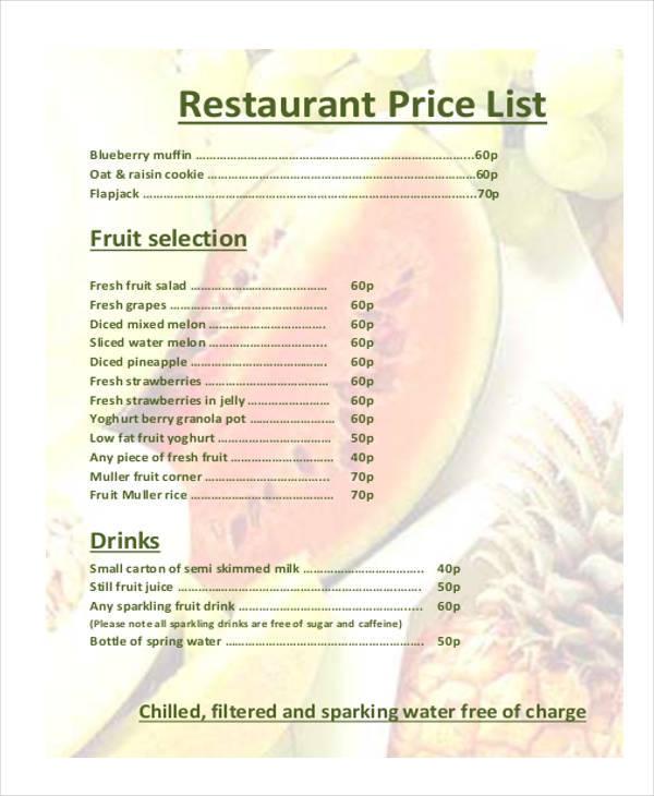 list for restaurant price