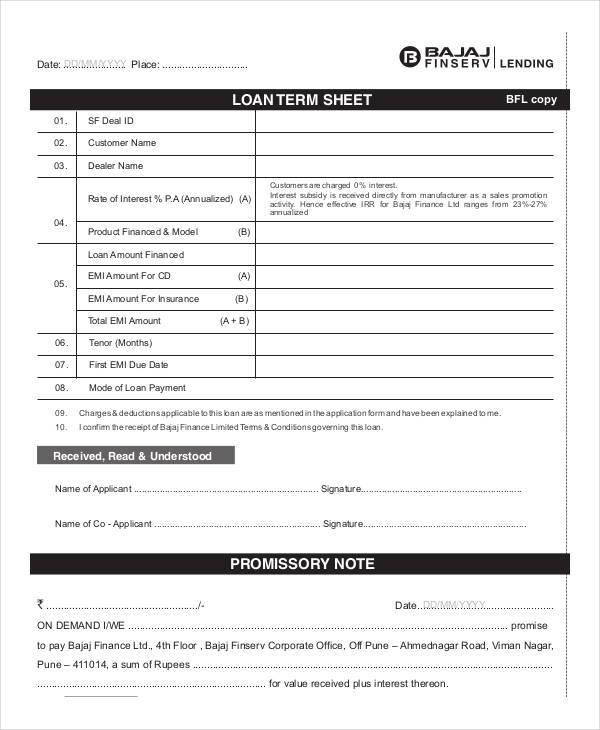 loan term sample sheet