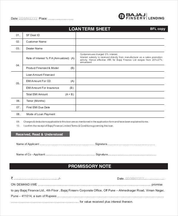 loan term sample sheet1