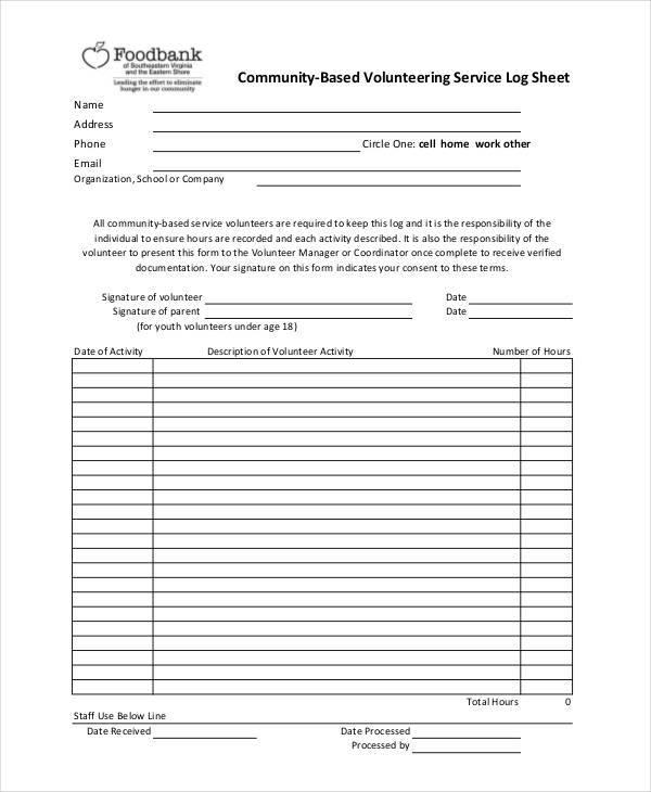 log sheet for volunteer service
