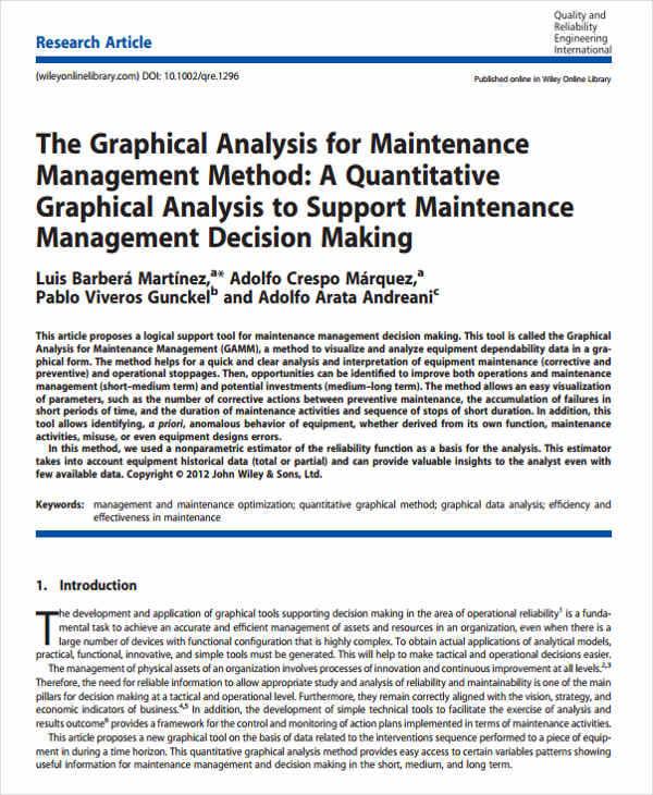 maintenance management analysis