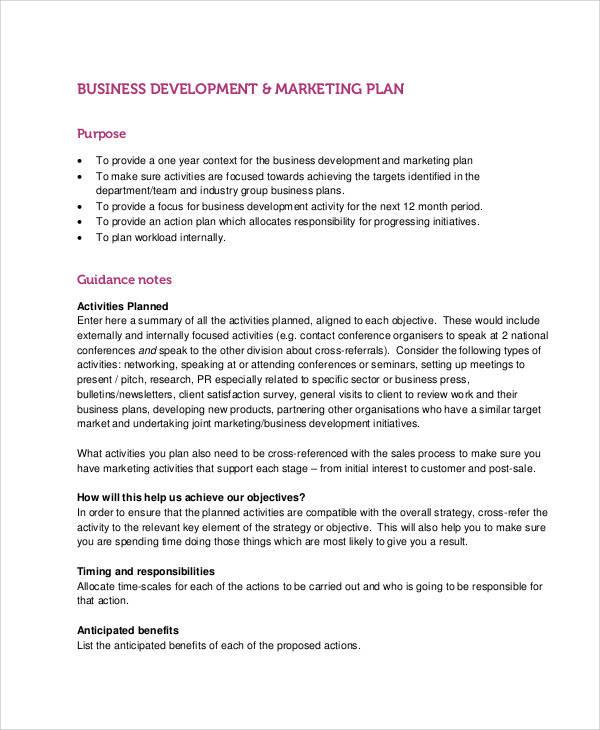 marketing business development plan