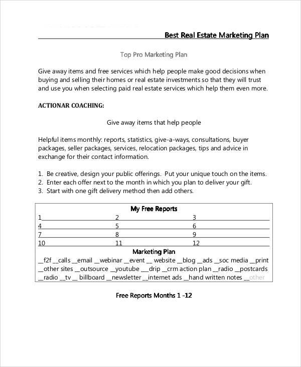 marketing plan for real estate sample
