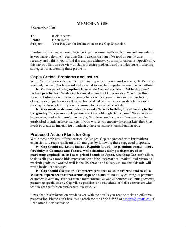 Strategy Memo  Free Sample Example Format Download