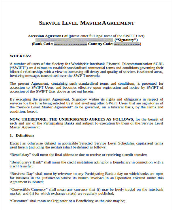 master service level agreement