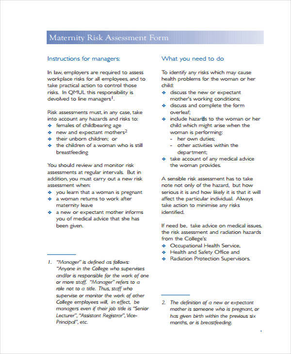 maternity risk assessment form example