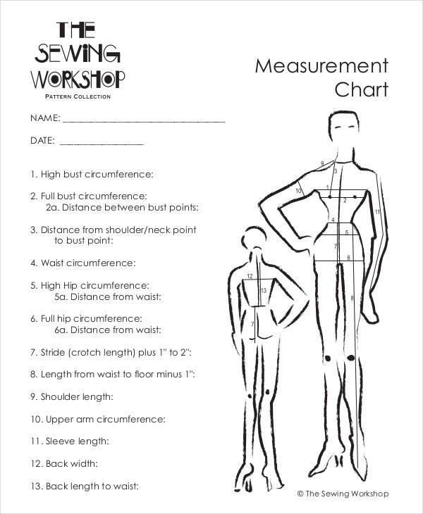 measurement chart for clothing