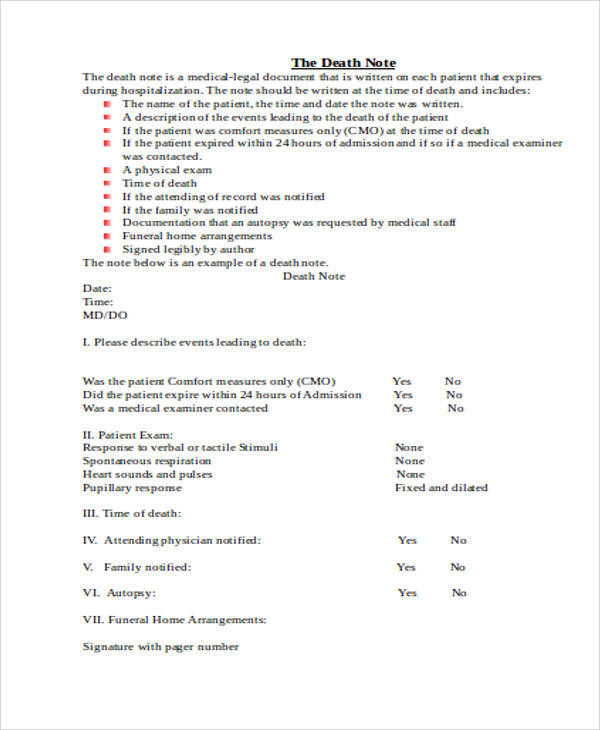 medical death note template 9 medical note samples examples in word pdf sample