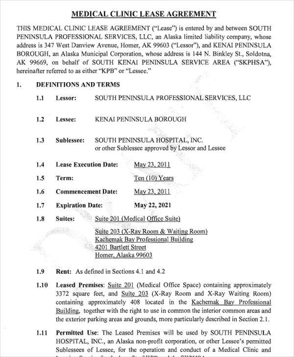 medical office lease agreement