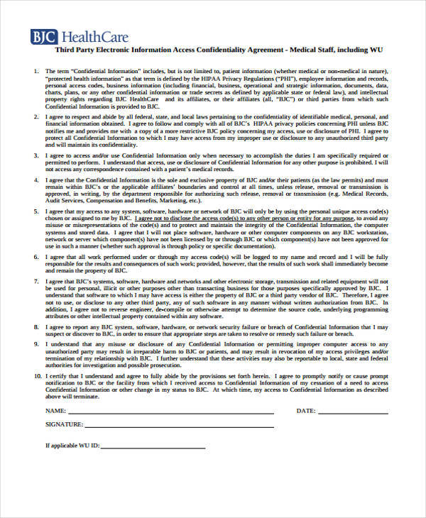 10 Medical Confidentiality Agreement - Free Sample, Example
