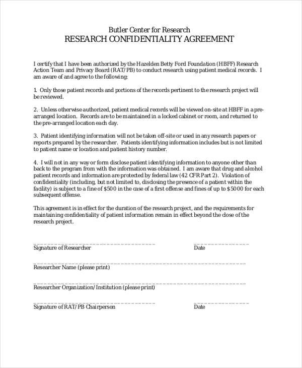 Medical Confidentiality Agreement  Free Sample Example Format
