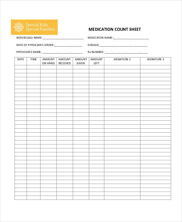 medication count log sheet