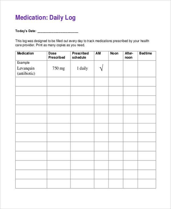 medication daily log sheet