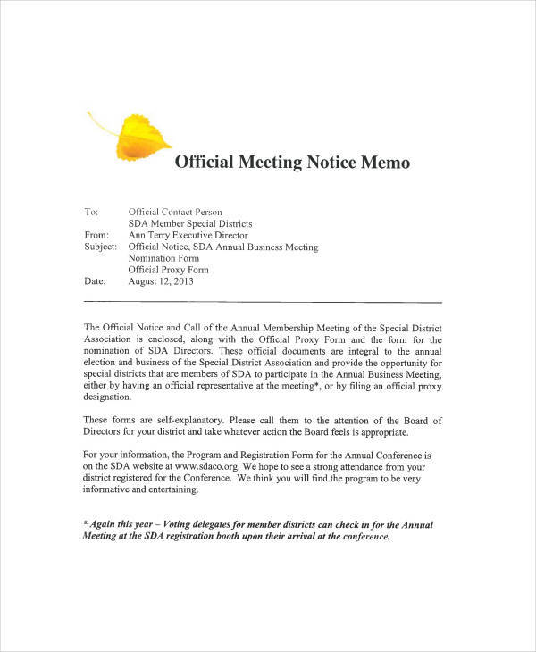 meeting notice memo sample