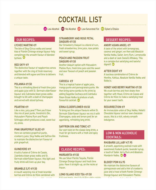 menu list for cocktail