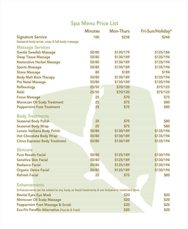 menu price list
