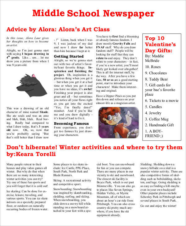 middle school newspaper