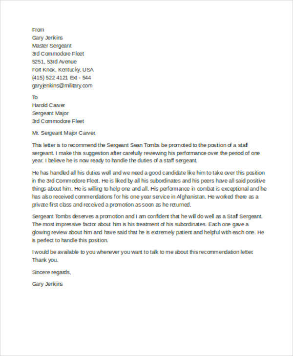 Sample Military Recommendation Letter  Free Sample Example