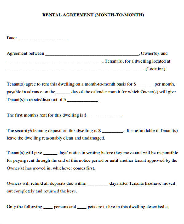 month to month landlord lease form