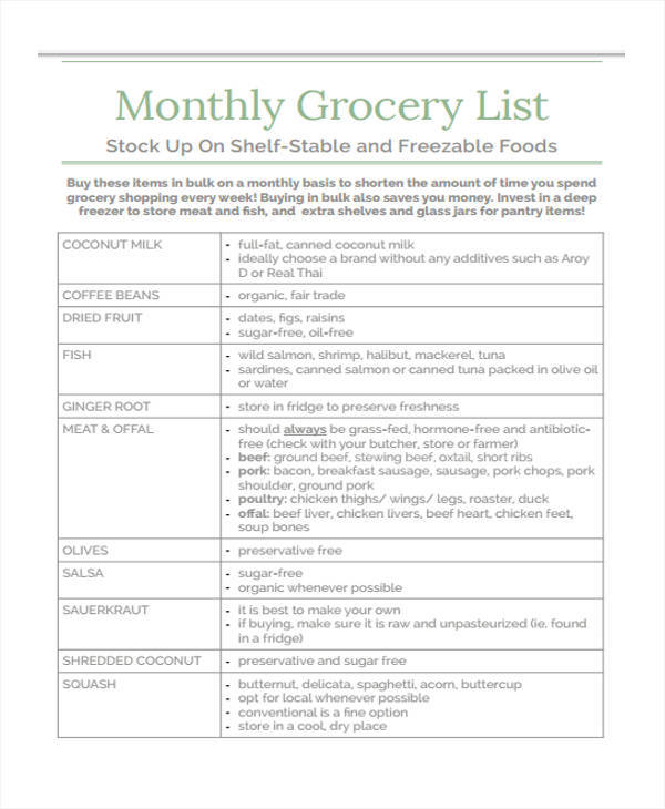 13 Monthly List Sample Free Sample Example Format Download – Example Grocery List