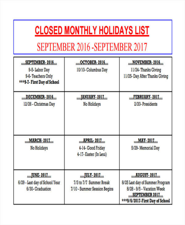 monthly holiday list