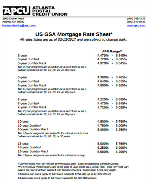 mortgage rate sheet template Rate Sheet Templates - 12  Examples in PDF
