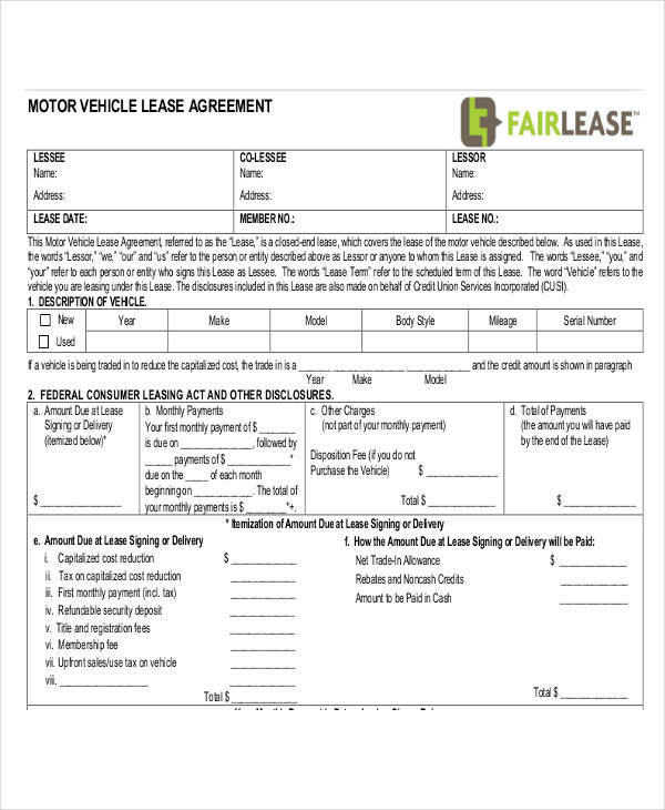 motor vehicle agreement2