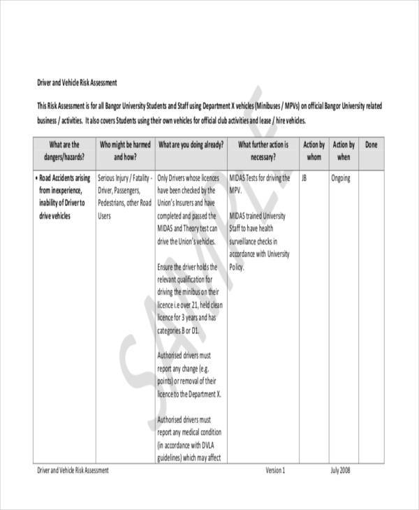Risk Assessment Form Samples