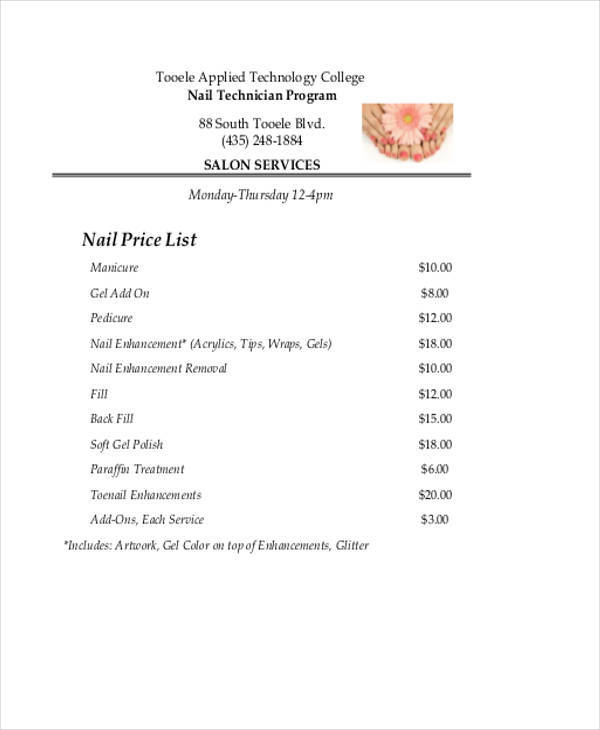 44 price list samples templates pdf doc for A list nail salon
