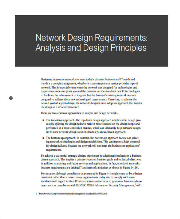 network design requirement analysis