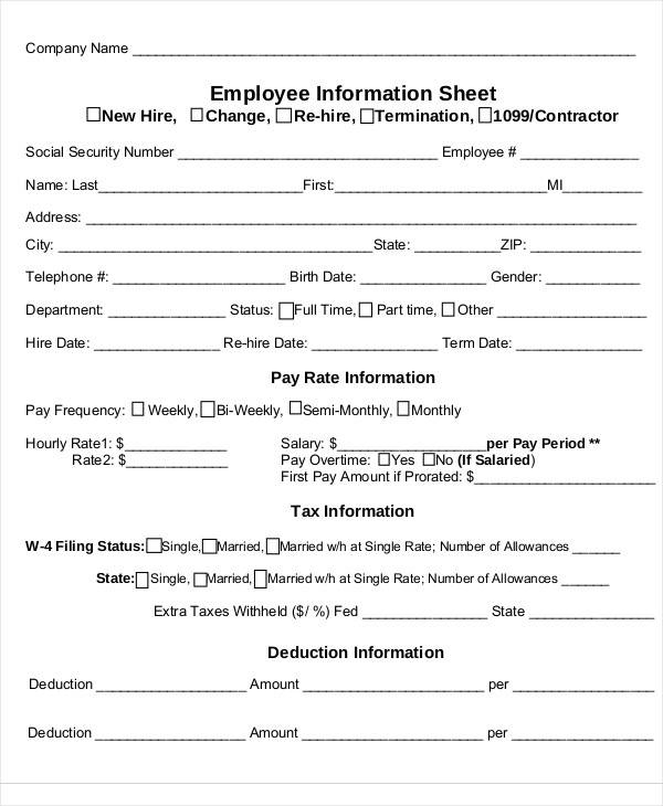 new employee information sheet