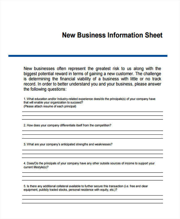 new sheet for business information