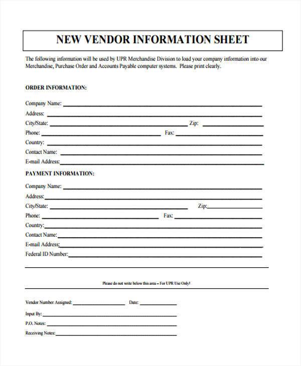 new sheet for vendor information