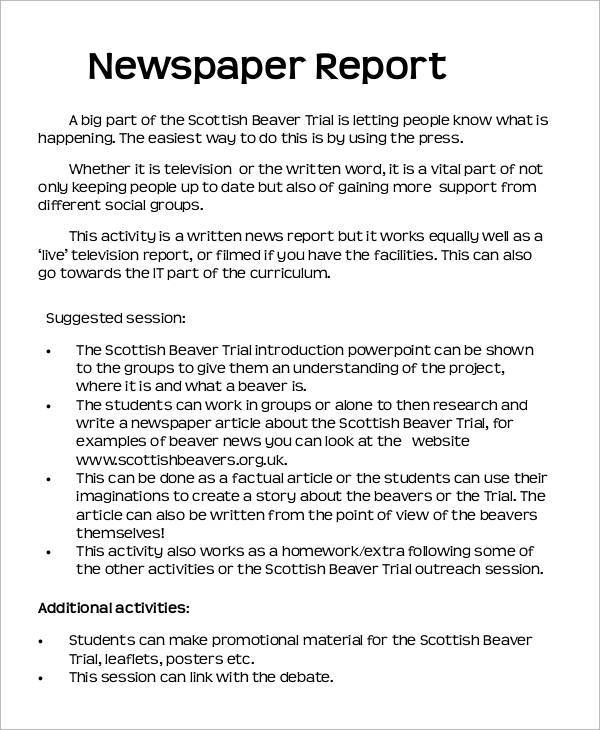 News Report Template Newspaper Book Report Template Education World