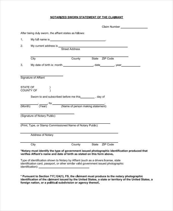 notarized sworn statement template