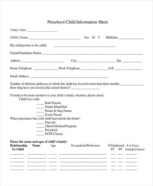 nursery child information sheet